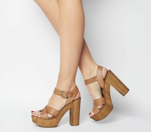 Womens Office Hawaiian Wood Platform Heels Tan Leather Heels