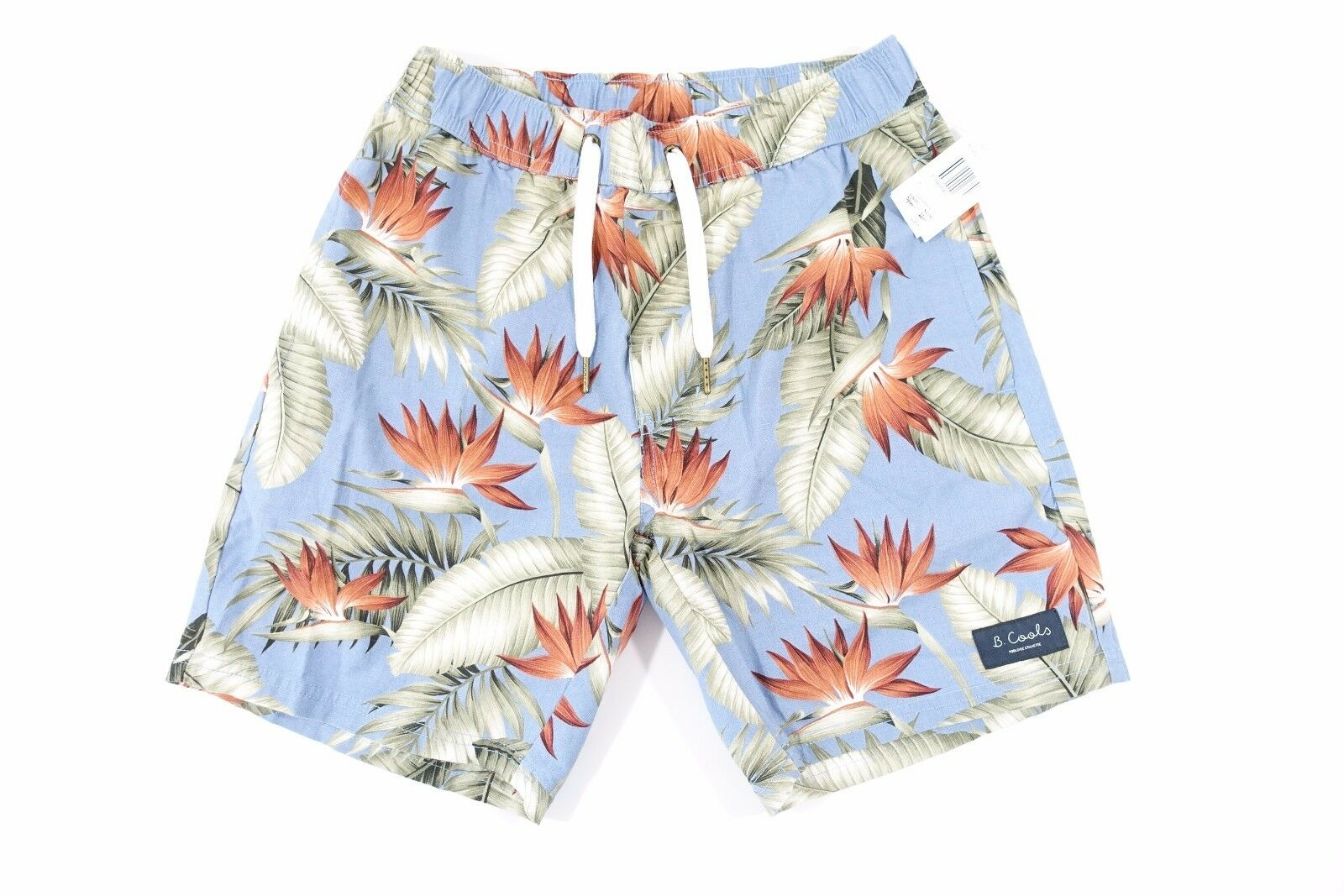 BARNEY COOL HAWAIIAN FLORAL blueE 32 LINEN BLEND DRAW STRING SHORTS MENS NWT NEW