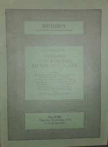 1976 Catalogue Di Vendita SOTHEBY'S English E Stranieri Argento E Piatta