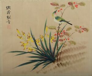 Vintage Antique Chinese Silk Painting Song Bird With Yellow