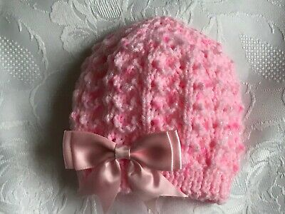 NEWBORN  Hand Knitted Baby Girl/'s Pink  Beanie Hat With Satin Bow