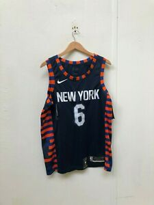 half off cb6b7 36a01 Details about Nike Men's NBA New York Knicks City Jersey - Large -  Porzingis 6 - Navy - New