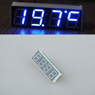 12V  3 in 1 Blue Led Car Thermometer Clock Voltage Temperature module