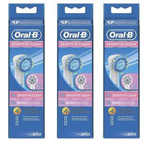 4-8-12-Stueck-Braun-Oral-B-Sensitive-Clean-Sensi-Ultra-Thin-Aufsteckbuersten