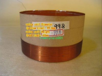 1pcs 100mm 8ohm 8Ω BASV Round wire woofer coil speaker bass voice coil Black