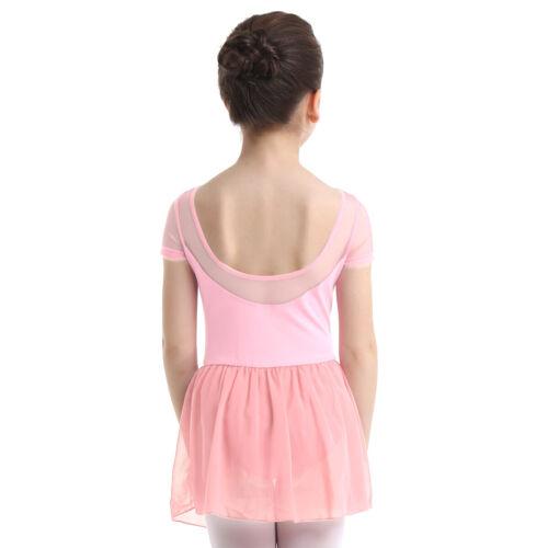 Girls Ballet Dance Leotard Dress Kids Gymnastics Chiffon Skirt Dancewear Costume