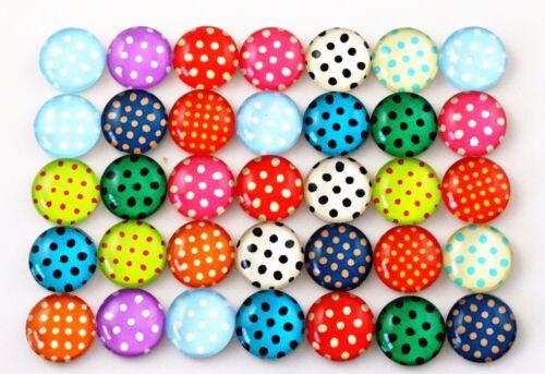 Handmade Polka Dot Glass Cabochons12mmMixed Colours50pcs