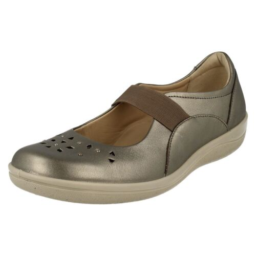 Shoe Leather Ladies Padders Casual 'flare' Elastic Pewter Strap wq1EfC