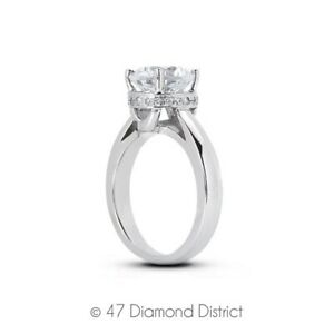 3-66-CT-E-SI1-Round-Natural-Certified-Diamonds-14K-Gold-Classic-Side-Stone-Ring