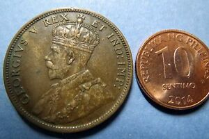 1911-Antique-CANADA-KING-GEORGE-VII-ONE-CENT-LARGE-BRONZE-COIN-Fine-Circulated