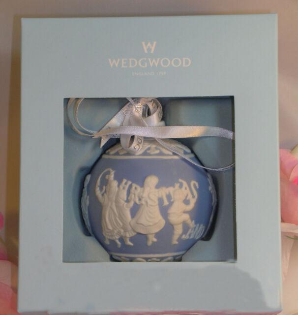 New Wedgwood Blue White Jasperware Merry Christmas Happy New Year Tree Ornament