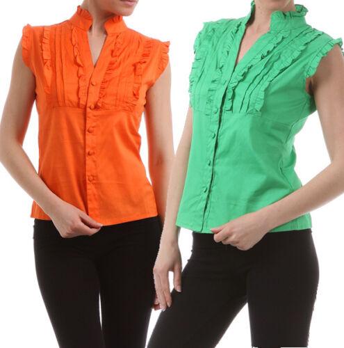 New Women/'s Button Down Shirt 100/% Cotton Top Ruffle Cap Sleeve Fashion Central
