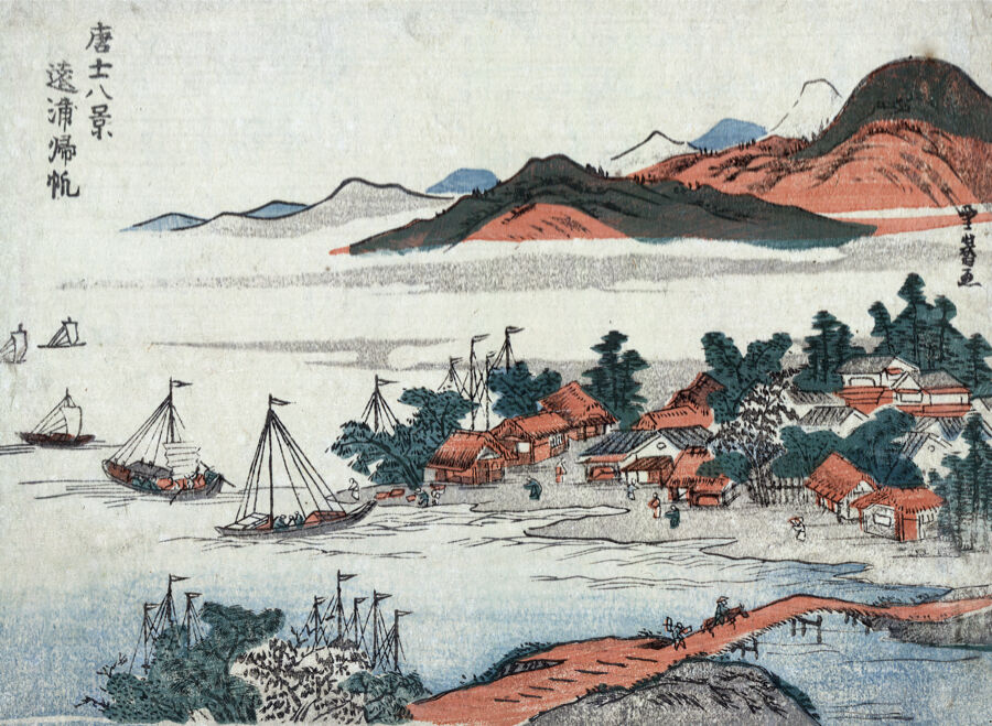 Asian Landscape Decorative drawing Poster. Graphic Art. Interior Design 2245