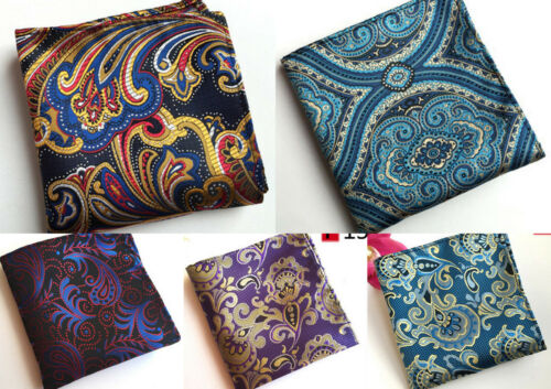 Blue Red Yellow Purple Black Patterned Pocket Square Handkerchief