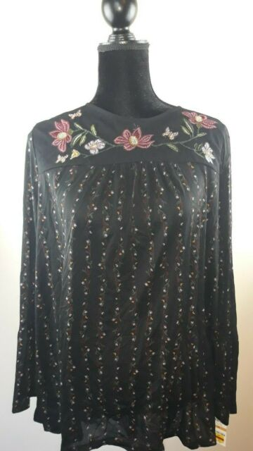 0b862e5eda5 Style & Co. Womens Black Embroidered Floral Print Blouse Top Plus 0x ...