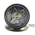 Retro Bronze Wolf Dog Pendant Quartz Analog Pocket Watch Necklace Chain Men Gift