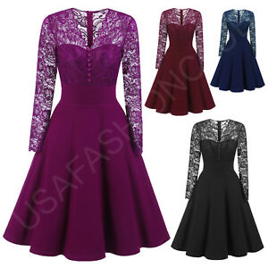 Women-039-s-New-Vintage-Lace-Formal-Wedding-Cocktail-Evening-Party-Retro-Swing-Dress