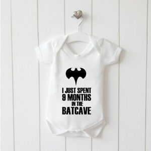I Just Spent 9 Months in the Batcave Vest Baby Grow 100% Cotton Boys Girls Bodys