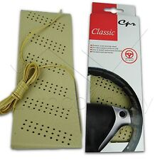 Classic Grip Synthetic Leather DIY Wrap Steering Wheel Cover Tie Beige