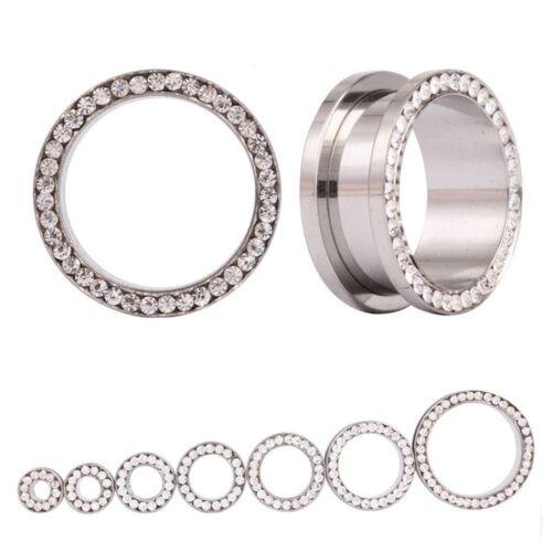 Silver 316L Stainless Steel Metal Ear Flesh Tunnel Plug 4mm-16mm With Rhinestone
