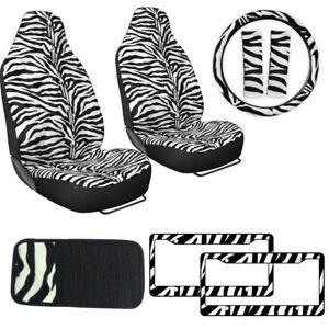 White Zebra Print Car Truck Seat Covers