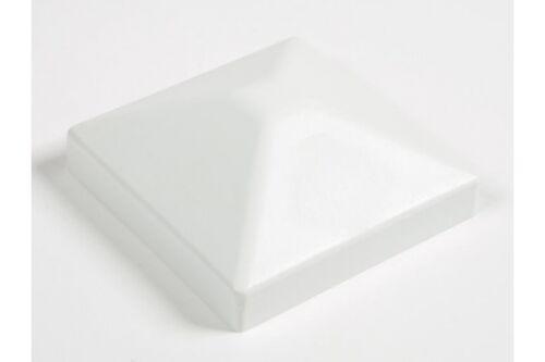 Pfostenkappe aus Holz WEIß 110x110 mm Pyramide / Kappe für Pfosten 9 x 9 cm