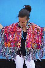 Maya Woman's Vintage Huipil Boho Poncho Fringed Cape from Guatemala