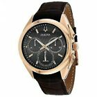 Bulova 97A124 45mm Men's Chronograph Curv Leather Strap Watch - Brown