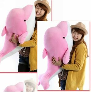 Big Dolphin Stuffed Animal Plush Toy 35 Soft Doll Pink Stuffed