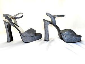 Gunmetal-Silver-Glitter-Platform-Shoe-Womens-US-9-Open-Toe-VTG-Ankle-Strap-Heels