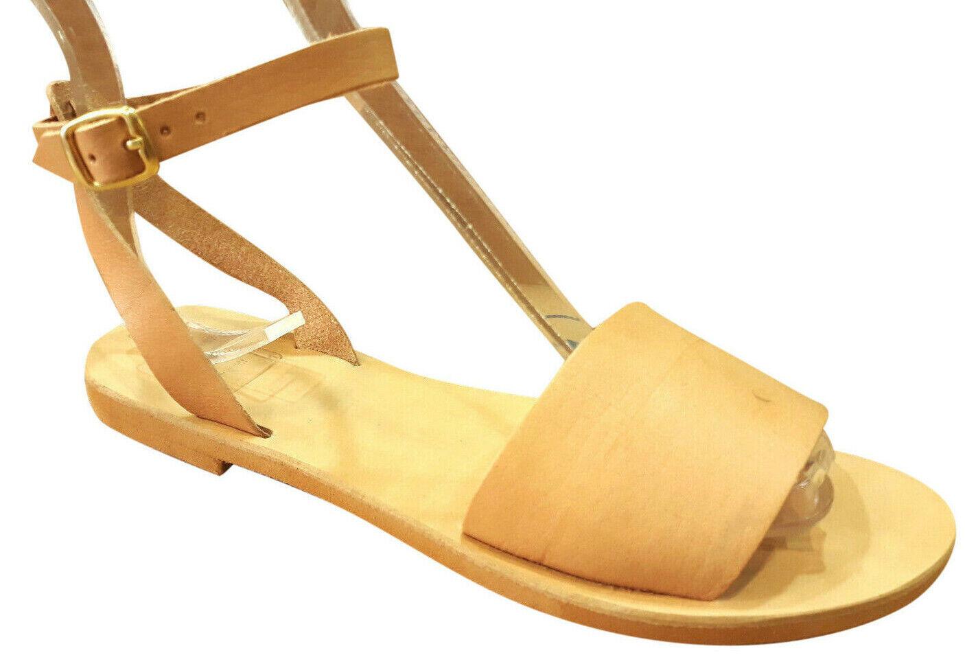 Las mujeres griegas antiguas sandalias gladiador romano cuero hecho a mano zapatos tamaño