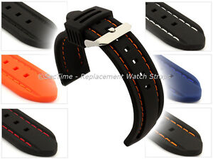 Mens-Silicon-Rubber-Waterproof-Divers-Watch-Strap-Band-20mm-22mm-Panor-MM