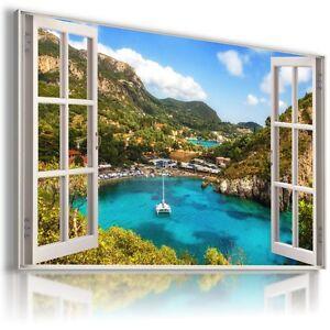 Image is loading GREECE-ZAKHYNTOS-LANDSCAPE-3D-Window-View-Canvas-Wall- & GREECE ZAKHYNTOS LANDSCAPE 3D Window View Canvas Wall Art Picture ...