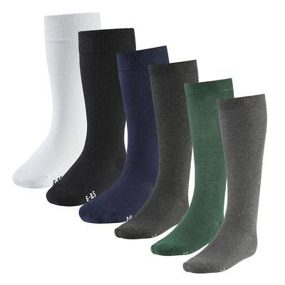 6 PAIR Girls Kids Back To School Plain Knee High Long Socks Cotton Uniform Warm