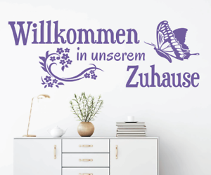 X4632-Wandtattoo-Spruch-Willkommen-in-unserem-Zuhause-Sticker-Wandaufkleber-Bild