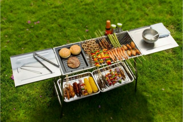 Portable & Foldable Stainless Steel Charcoal BBQ Grill For Camping & Picnic