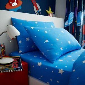 Exterieur-Espace-Stars-Drap-Simple-amp-Set-Taie-D-039-Oreiller-Literie-Bleu-Enfants