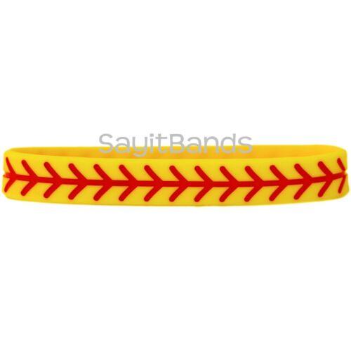 Wholesale Wrist Band Bracelet Lot Set of SOFTBALL Thread Silicone Wristbands