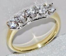 Beautiful 9 CT GIALLO ORO E ARGENTO 1.00 CARATI 5 pietre Eternity anello-Taglia M