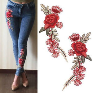1-Pair-DIY-Rose-Flower-Embroidered-Patches-Sew-On-Patch-Applique-For-Cloth-Craft