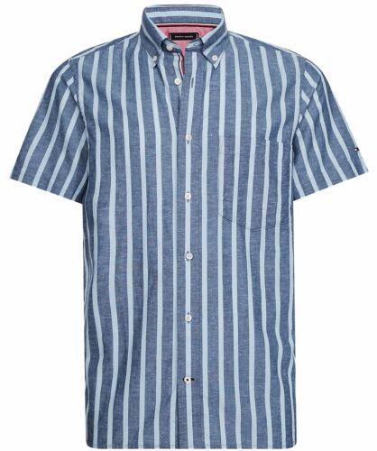 Tommy Hilfiger schmal geschnittenes Leinen-Baumwoll-Streifenhemd