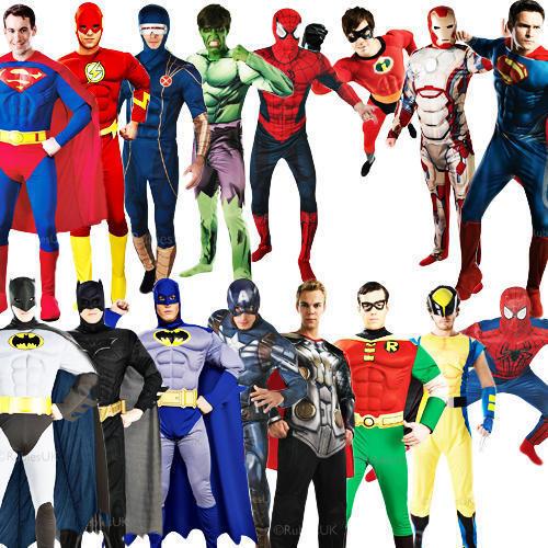 Deluxe Superhero Muscle Mens Fancy Dress DC Marvel Comic Heroes Adult Costumes