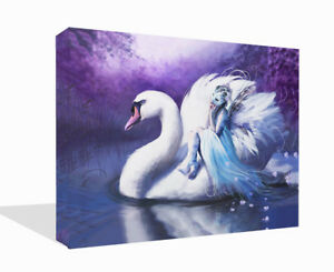 Details About Fantasy Swan And Fairy Purple Canvas Print Wall Art Picture Painting