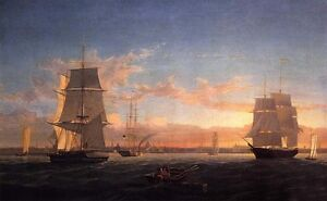 Art-Oil-painting-Fitz-Hugh-Lane-Boston-Harbor-at-Sunset-with-big-sail-boat-36-034