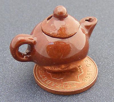 1:12 Scala Marrone Ceramica Teiera Tumdee Miniatura Casa Bambole Accessorio Br21 Tecniche Moderne