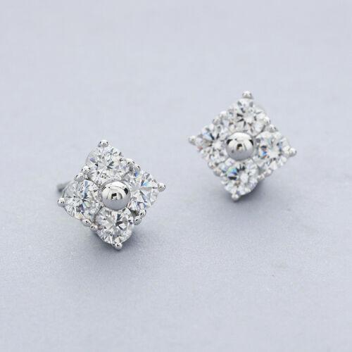 2CT Round Diamond Cluster Stud Earrings 18K White Gold Over Silver Women 8mm