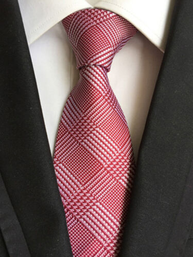 US004 Men Red White Stripe Checks Neck Tie Pocket Square Handkerchief Set Lot