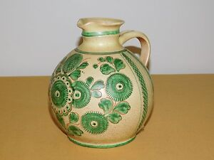 VINTAGE-7-034-HIGH-WEST-GERMANY-HAND-PAINTED-CERAMIC-JUG-PITCHER