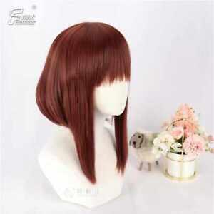 Dark brown short lengthened temples Anime characters cosplay Wig Elegant