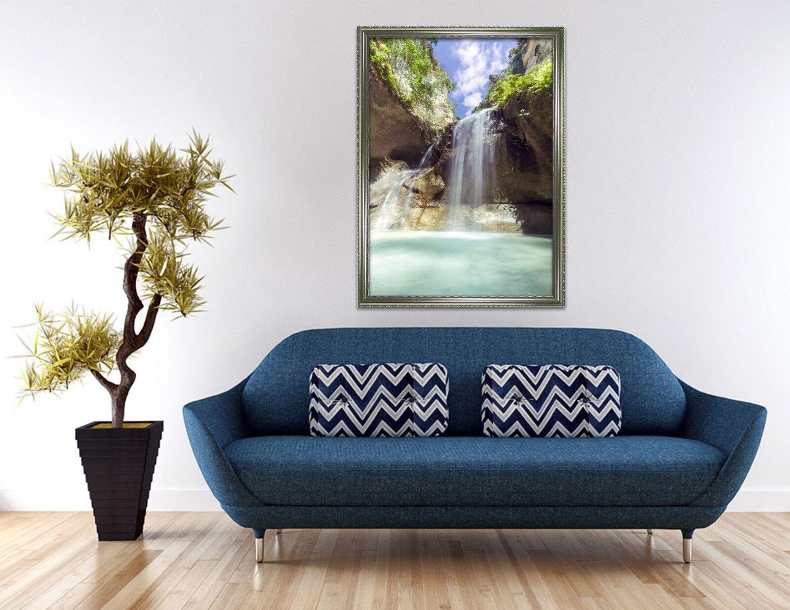 Valle del lago de agua 3D 3 Póster Enmarcado Decoración del Hogar Pintura de Impresión Arte AJ Wallpaper